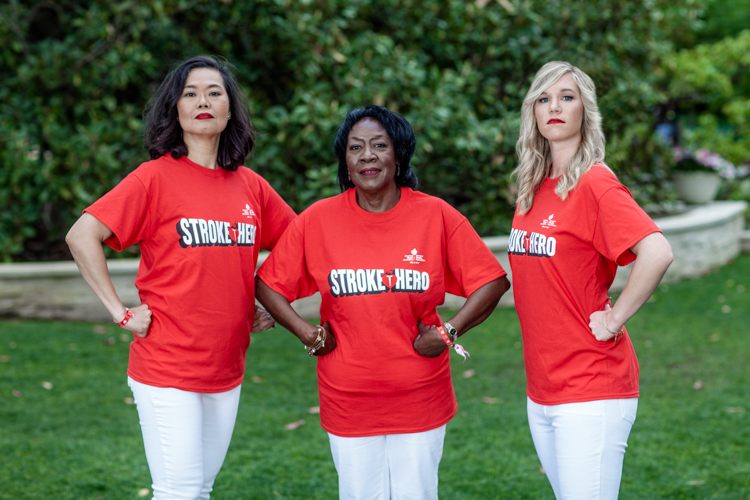 three women in stroke hero tee shirts